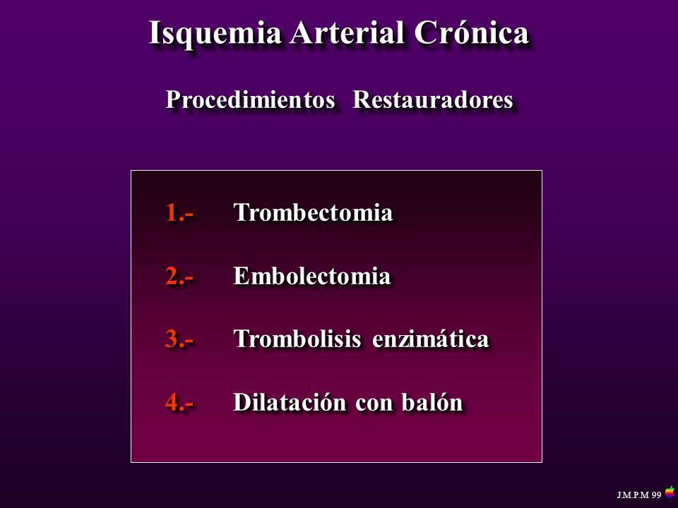 Isquemia Arterial Crónica Procedimientos Restauradores 1.-Trombectomia 2.-Embolectomia 3.-Trombolisis enzimática 4.-Dilatación con balón 1.-Trombectom