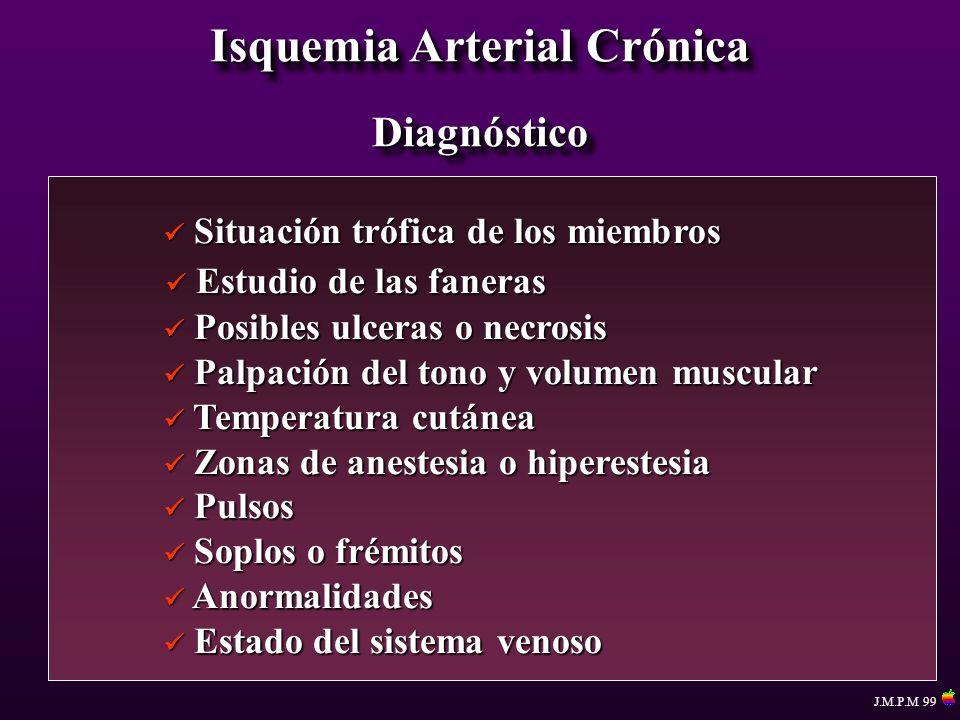 Isquemia Arterial Crónica Procedimientos Reconstructivos By pass aorto iliaco By pass aorto femoral By pass iliofemoral Angioplastia Angioplastia + stent By pass aorto biliaco By pass aorto bifemoral By pass axilo-femorales - edad avanzada - riesgo respiratorio - alto riesgo anestésico Estenosis ilíacas aisladas Síndrome de Leriche J.M.P.M 99