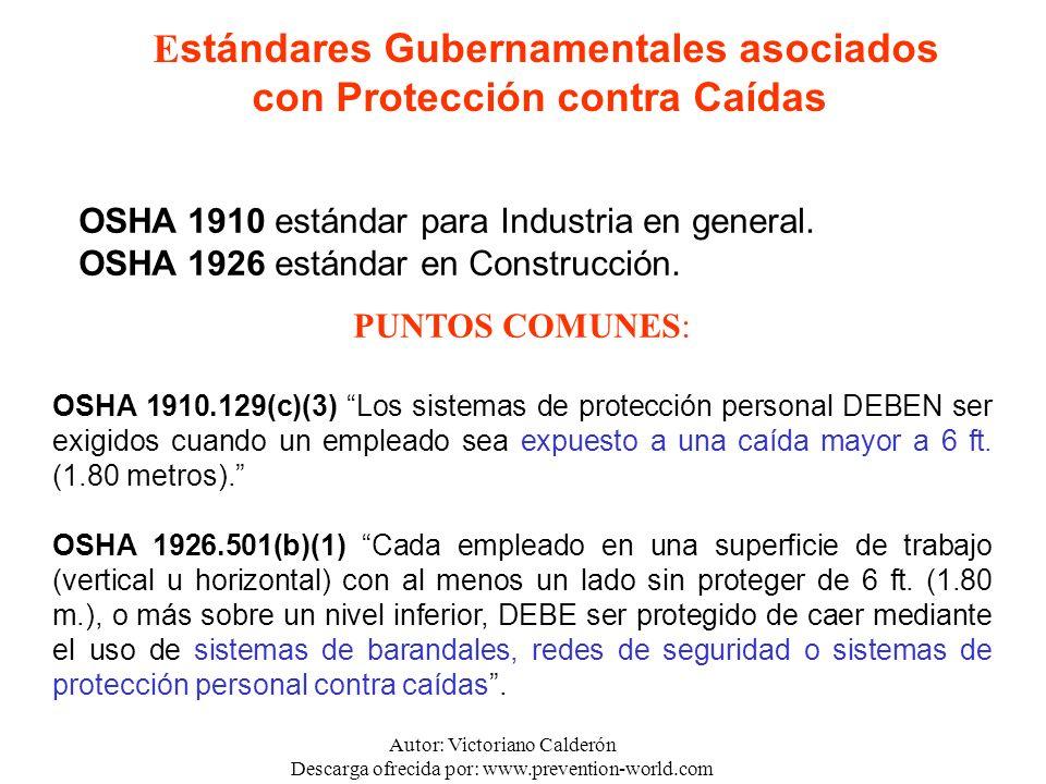 Autor: Victoriano Calderón Descarga ofrecida por: www.prevention-world.com OSHA 1910 estándar para Industria en general. OSHA 1926 estándar en Constru
