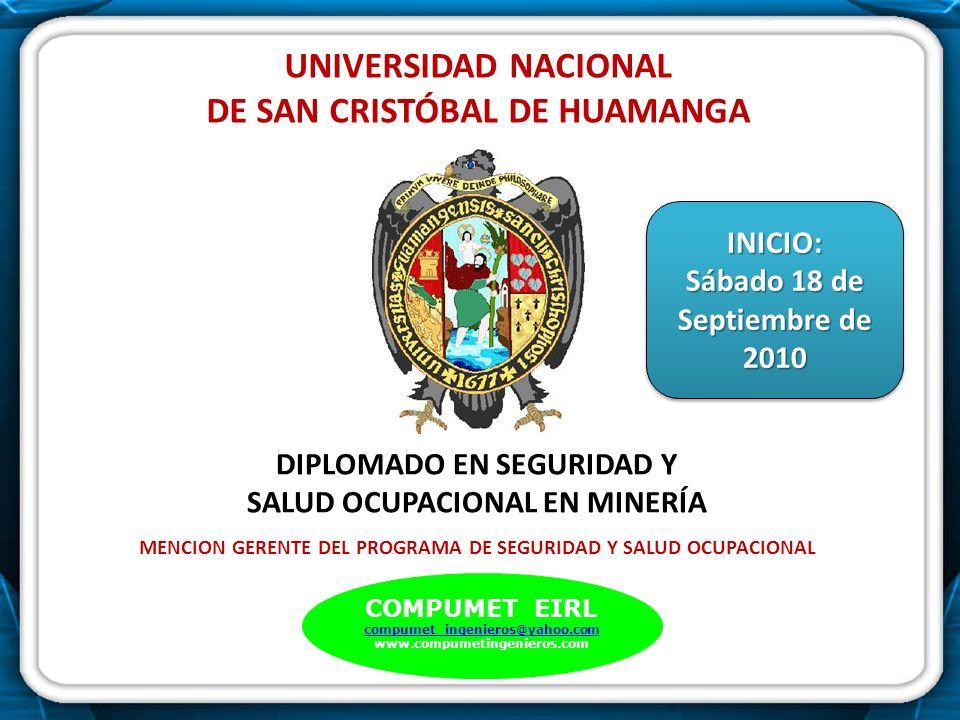 . UNIVERSIDAD NACIONAL DE SAN CRISTÓBAL DE HUAMANGA DIPLOMADO EN SEGURIDAD Y SALUD OCUPACIONAL EN MINERÍA MENCION GERENTE DEL PROGRAMA DE SEGURIDAD Y