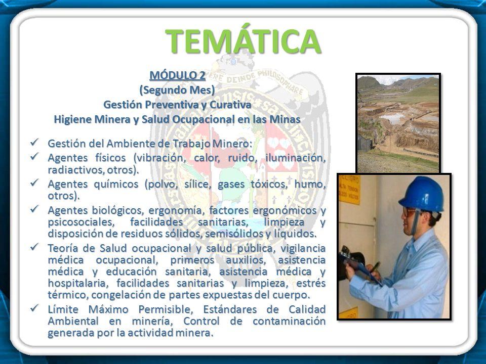 TEMÁTICA MÓDULO 2 (Segundo Mes) Gestión Preventiva y Curativa Higiene Minera y Salud Ocupacional en las Minas Gestión del Ambiente de Trabajo Minero:
