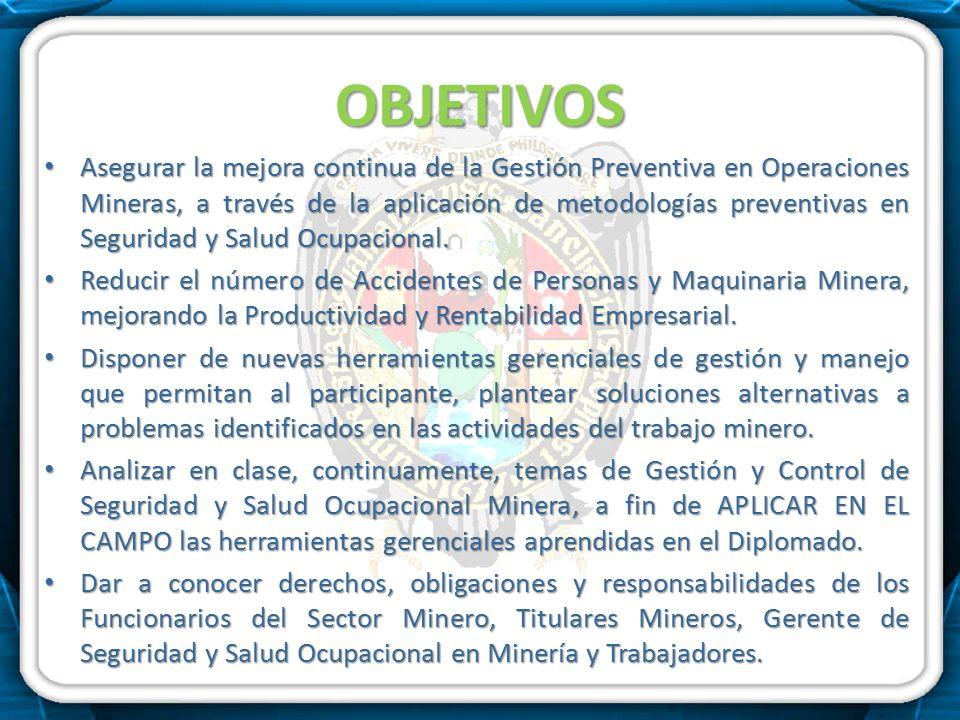 OBJETIVOS Asegurar la mejora continua de la Gestión Preventiva en Operaciones Mineras, a través de la aplicación de metodologías preventivas en Seguri