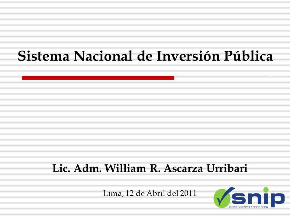 Sistema Nacional de Inversión Pública Lic. Adm. William R. Ascarza Urribari Lima, 12 de Abril del 2011