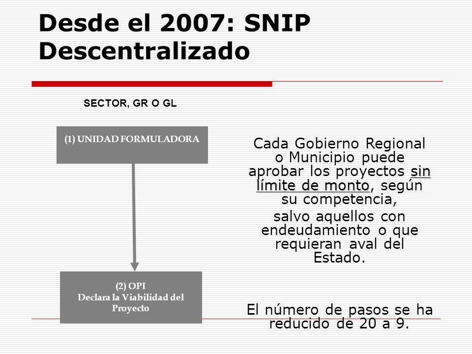 Desde el 2007: SNIP Descentralizado sin límite de monto Cada Gobierno Regional o Municipio puede aprobar los proyectos sin límite de monto, según su c