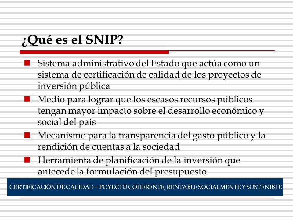 ¿Qué es el SNIP? Sistema administrativo del Estado que actúa como un sistema de certificación de calidad de los proyectos de inversión pública Medio p