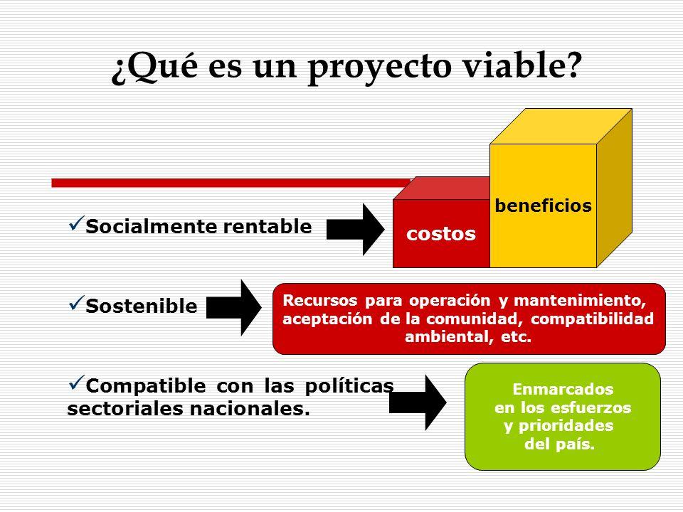 ¿Qué es un proyecto viable? Socialmente rentable Sostenible Compatible con las políticas sectoriales nacionales. costos beneficios Recursos para opera