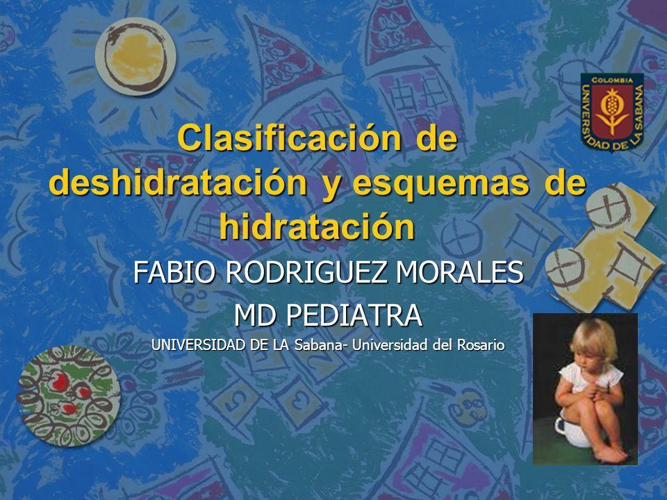 Clasificar la deshidratación n La deshidratación en un niño con diarrea puede clasificarse de tres maneras posibles: 1.DESHIDRATACIÓN GRAVE 2.ALGÚN GRADO DE DESHIDRATACIÓN 3.NO TIENE DESHIDRATACIÓN