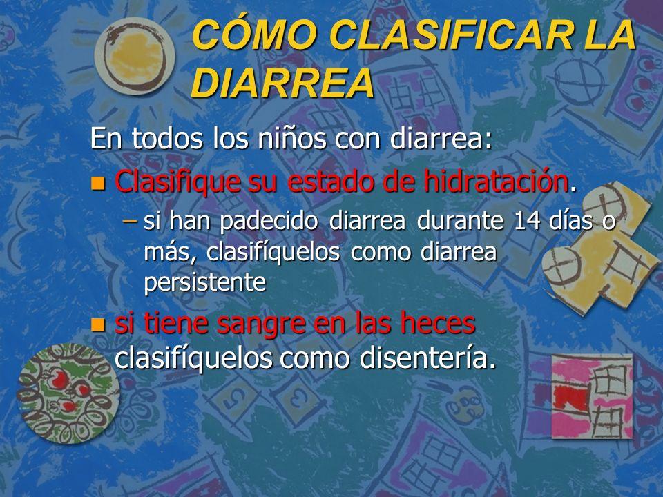 CÓMO CLASIFICAR LA DIARREA En todos los niños con diarrea: n Clasifique su estado de hidratación. –si han padecido diarrea durante 14 días o más, clas