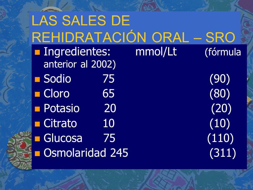 LAS SALES DE REHIDRATACIÓN ORAL – SRO n n Ingredientes:mmol/Lt (fórmula anterior al 2002) n n Sodio 75 (90) n n Cloro 65 (80) n n Potasio 20 (20) n n