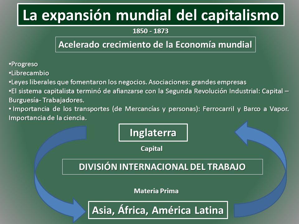 La expansión mundial del capitalismo 1850 - 1873 Acelerado crecimiento de la Economía mundial Progreso Progreso Librecambio Librecambio Leyes liberale