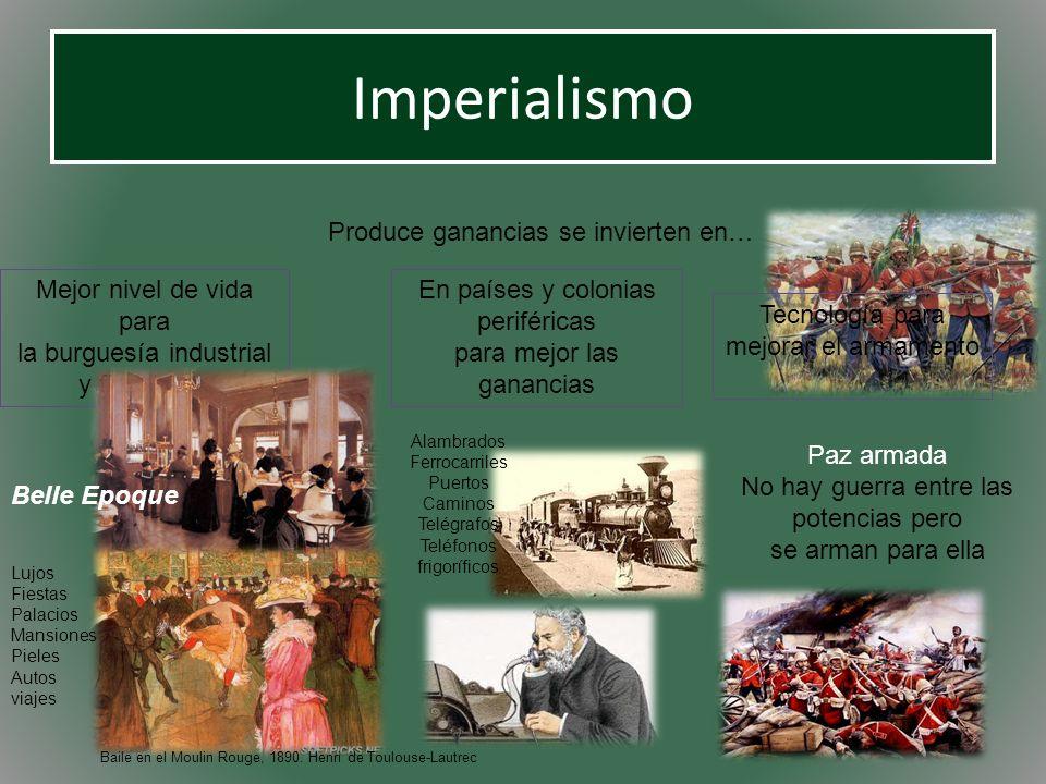 Imperialismo Produce ganancias se invierten en… Mejor nivel de vida para la burguesía industrial y financiera En países y colonias periféricas para me