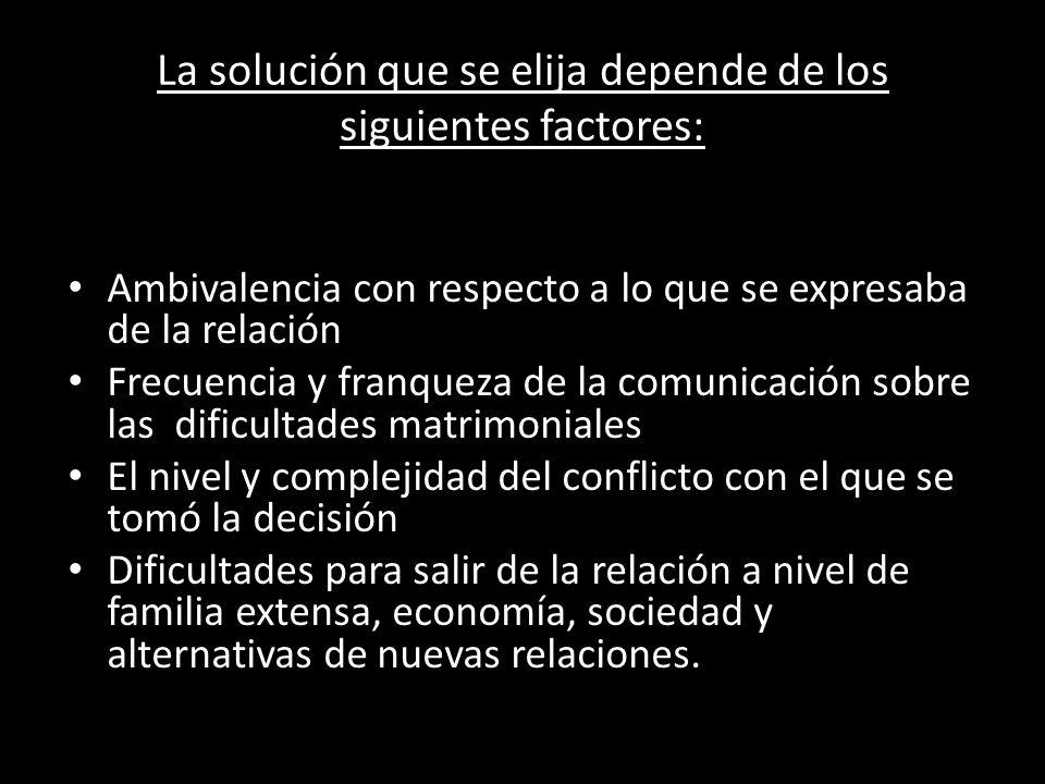 La solución que se elija depende de los siguientes factores: Contexto de la relación Ambivalencia con respecto a lo que se expresaba de la relación Fr