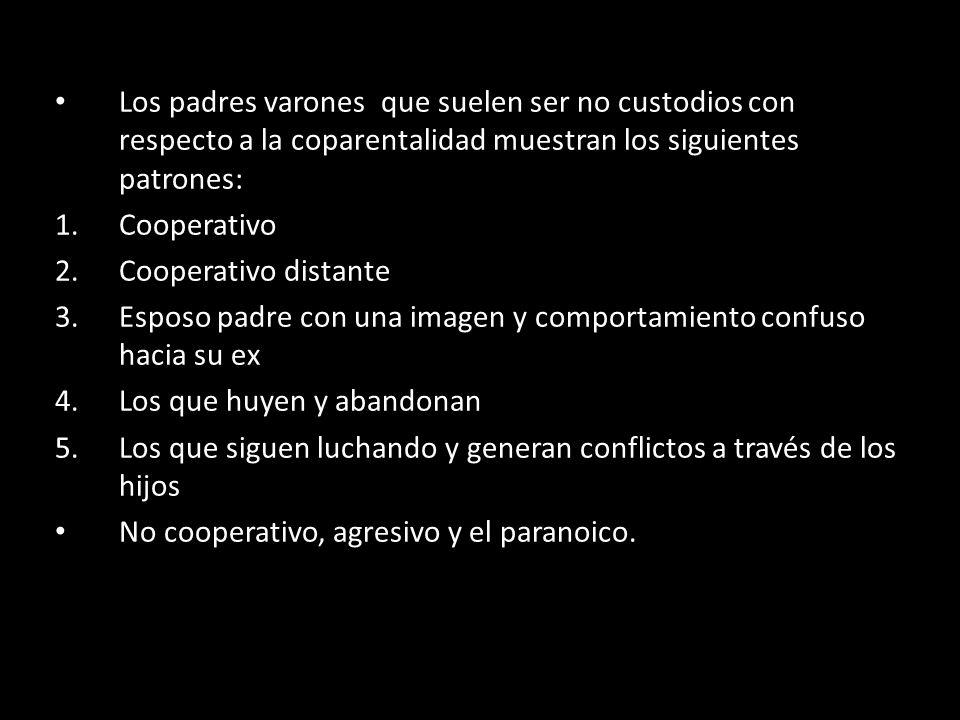 Los padres varones que suelen ser no custodios con respecto a la coparentalidad muestran los siguientes patrones: 1.Cooperativo 2.Cooperativo distante