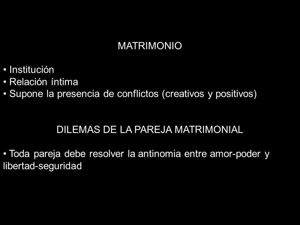 MATRIMONIO Institución Relación íntima Supone la presencia de conflictos (creativos y positivos) DILEMAS DE LA PAREJA MATRIMONIAL Toda pareja debe res
