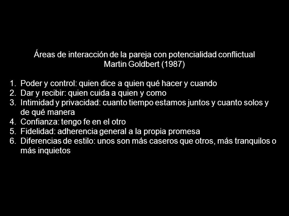 Áreas de interacción de la pareja con potencialidad conflictual Martin Goldbert (1987) 1.Poder y control: quien dice a quien qué hacer y cuando 2.Dar