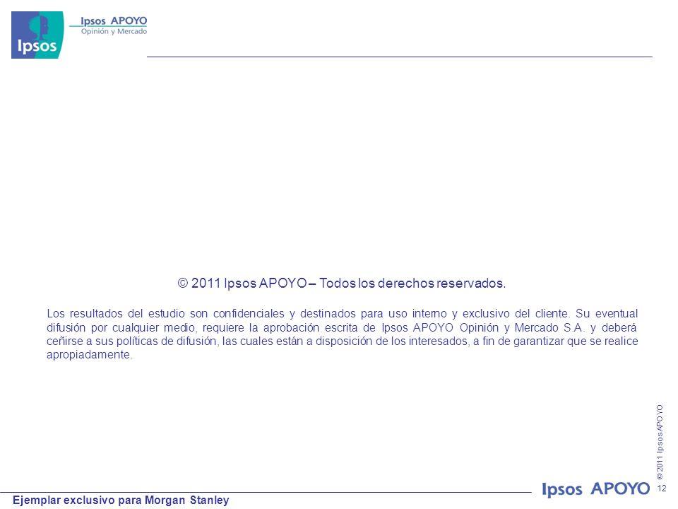 © 2011 Ipsos APOYO Ejemplar exclusivo para Morgan Stanley 12 © 2011 Ipsos APOYO – Todos los derechos reservados. Los resultados del estudio son confid