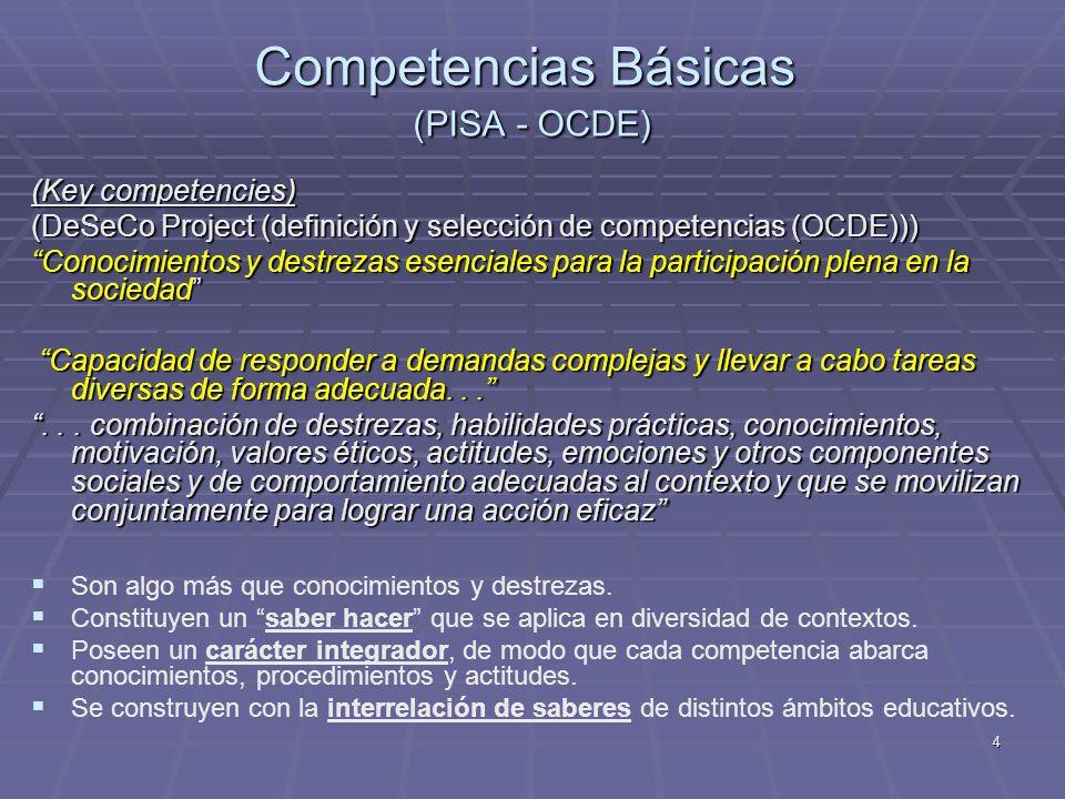5 El concepto de competencia matemática está íntimamente relacionado con el punto de vista funcional de las matemáticas, que tiene que ver con (OCDE): El concepto de competencia matemática está íntimamente relacionado con el punto de vista funcional de las matemáticas, que tiene que ver con (OCDE): las matemáticas como modo de hacer las matemáticas como modo de hacer la utilización de herramientas matemáticas la utilización de herramientas matemáticas el conocimiento matemático en funcionamiento el conocimiento matemático en funcionamiento Poseer competencia matemática significa: poseer habilidad para comprender, juzgar, hacer y usar las matemáticas en una variedad de contextos intra y extra matemáticos y situaciones en las que las matemáticas juegan o pueden tener un protagonismo (Niss, M.) Poseer competencia matemática significa: poseer habilidad para comprender, juzgar, hacer y usar las matemáticas en una variedad de contextos intra y extra matemáticos y situaciones en las que las matemáticas juegan o pueden tener un protagonismo (Niss, M.) Competencias Matemáticas (PISA - OCDE)