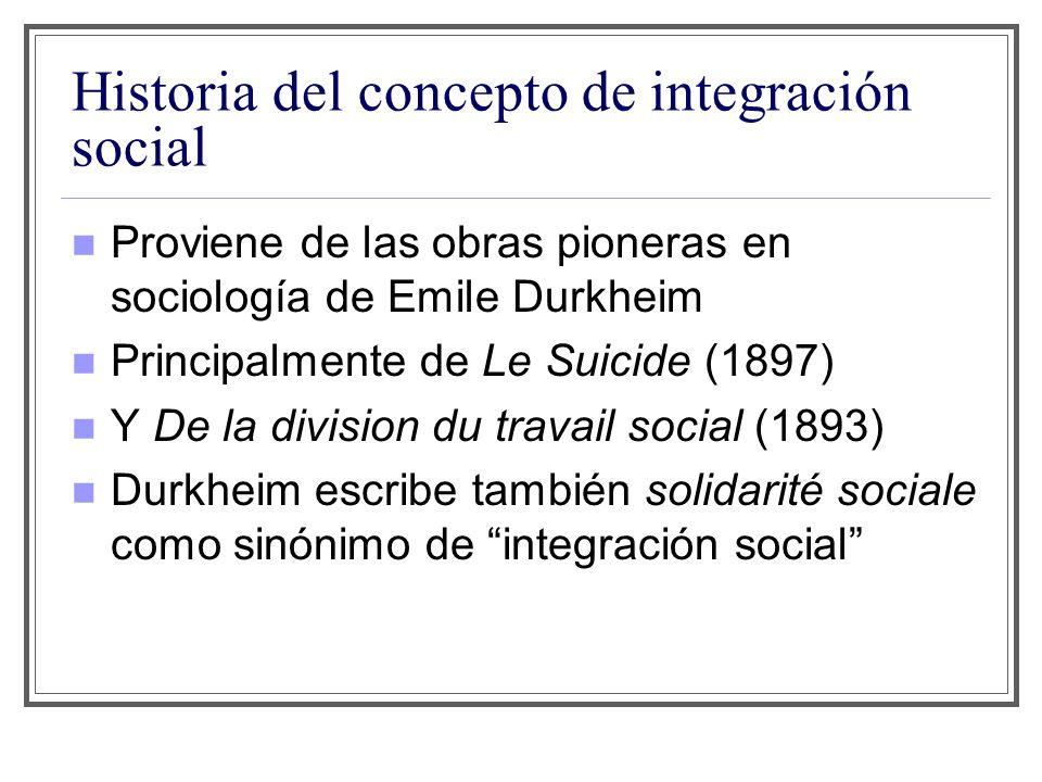 Historia del concepto de integración social Proviene de las obras pioneras en sociología de Emile Durkheim Principalmente de Le Suicide (1897) Y De la