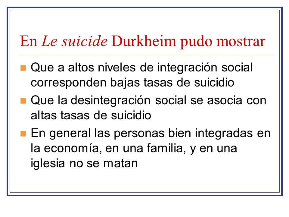 En Le suicide Durkheim pudo mostrar Que a altos niveles de integración social corresponden bajas tasas de suicidio Que la desintegración social se aso
