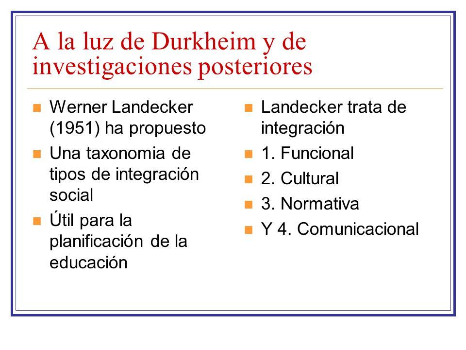 A la luz de Durkheim y de investigaciones posteriores Werner Landecker (1951) ha propuesto Una taxonomia de tipos de integración social Útil para la p