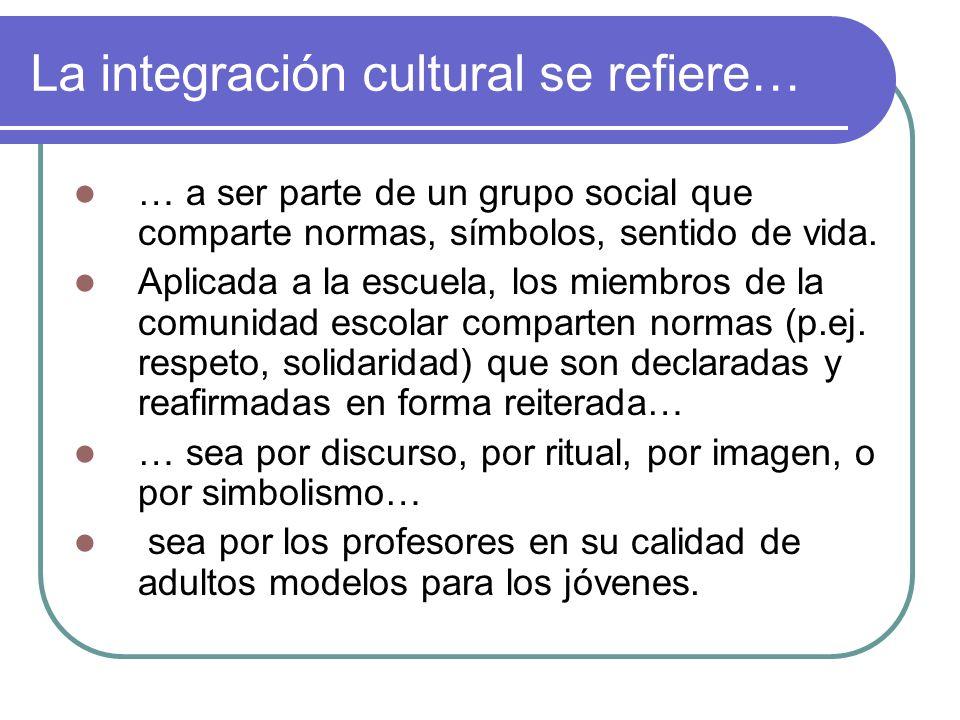 La integración cultural se refiere… … a ser parte de un grupo social que comparte normas, símbolos, sentido de vida. Aplicada a la escuela, los miembr