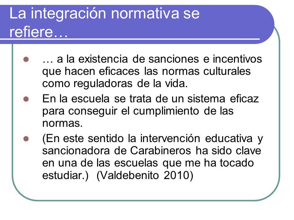La integración normativa se refiere… … a la existencia de sanciones e incentivos que hacen eficaces las normas culturales como reguladoras de la vida.