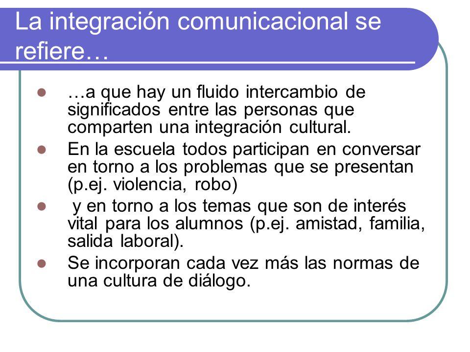 La integración comunicacional se refiere… …a que hay un fluido intercambio de significados entre las personas que comparten una integración cultural.