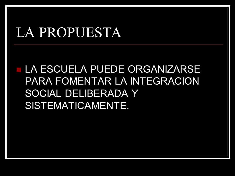 LA PROPUESTA LA ESCUELA PUEDE ORGANIZARSE PARA FOMENTAR LA INTEGRACION SOCIAL DELIBERADA Y SISTEMATICAMENTE.