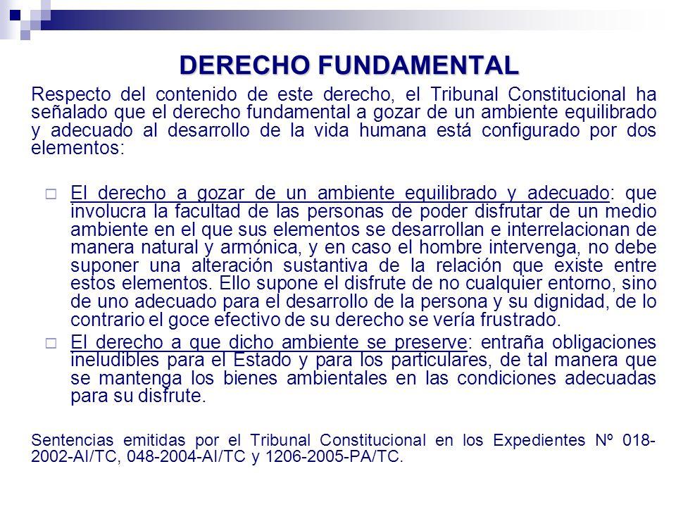 DERECHO A UN MEDIO AMBIENTE EQUILIBRADO Ley 28611, Ley General del Ambiente, art.