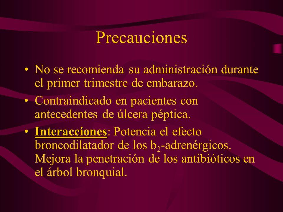 Precauciones No se recomienda su administración durante el primer trimestre de embarazo. Contraindicado en pacientes con antecedentes de úlcera péptic