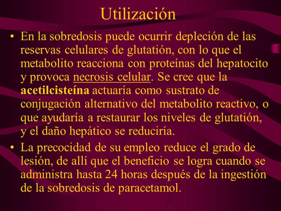 Utilización En la sobredosis puede ocurrir depleción de las reservas celulares de glutatión, con lo que el metabolito reacciona con proteínas del hepa