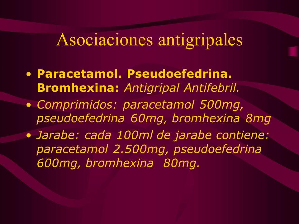 Asociaciones antigripales Paracetamol. Pseudoefedrina. Bromhexina: Antigripal Antifebril. Comprimidos: paracetamol 500mg, pseudoefedrina 60mg, bromhex