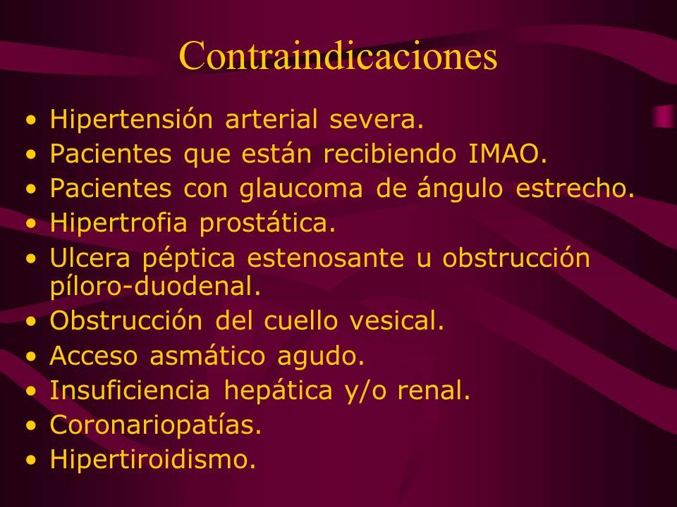 Contraindicaciones Hipertensión arterial severa. Pacientes que están recibiendo IMAO. Pacientes con glaucoma de ángulo estrecho. Hipertrofia prostátic