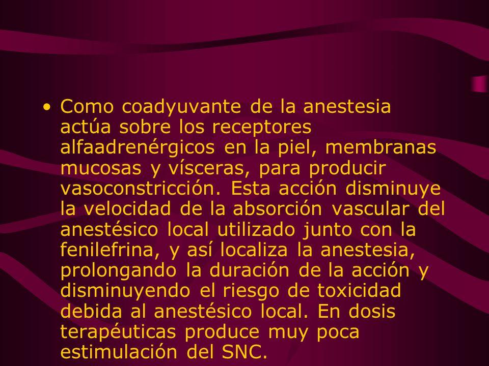 Como coadyuvante de la anestesia actúa sobre los receptores alfaadrenérgicos en la piel, membranas mucosas y vísceras, para producir vasoconstricción.