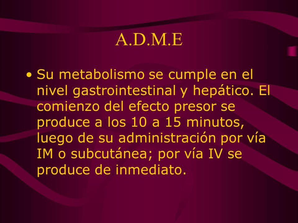 A.D.M.E Su metabolismo se cumple en el nivel gastrointestinal y hepático. El comienzo del efecto presor se produce a los 10 a 15 minutos, luego de su