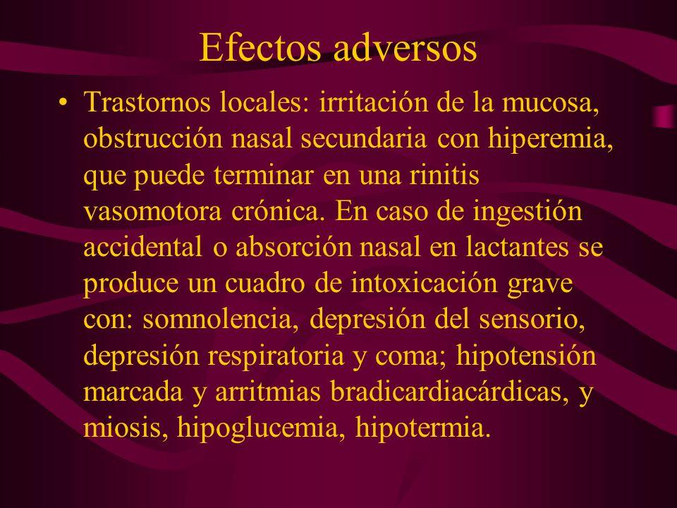 Efectos adversos Trastornos locales: irritación de la mucosa, obstrucción nasal secundaria con hiperemia, que puede terminar en una rinitis vasomotora