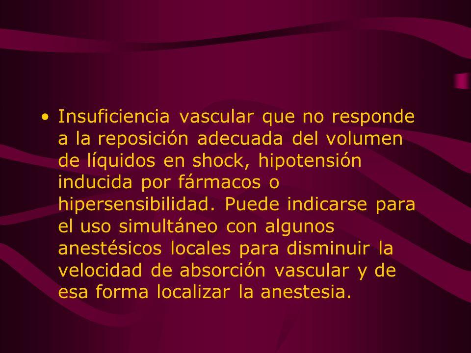 Insuficiencia vascular que no responde a la reposición adecuada del volumen de líquidos en shock, hipotensión inducida por fármacos o hipersensibilida