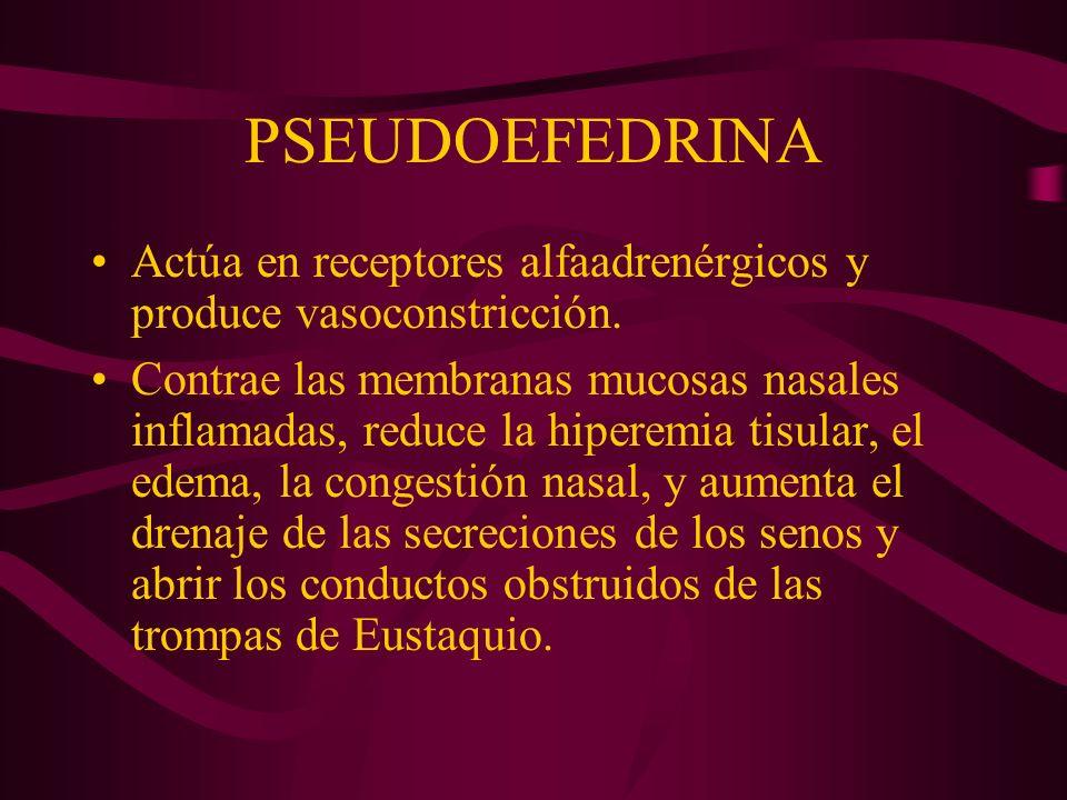 PSEUDOEFEDRINA Actúa en receptores alfaadrenérgicos y produce vasoconstricción. Contrae las membranas mucosas nasales inflamadas, reduce la hiperemia