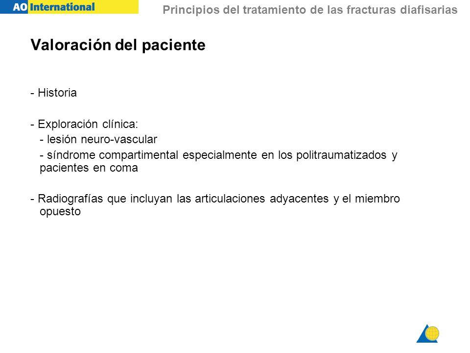 Principios del tratamiento de las fracturas diafisarias Valoración del paciente - Historia - Exploración clínica: - lesión neuro-vascular - síndrome c