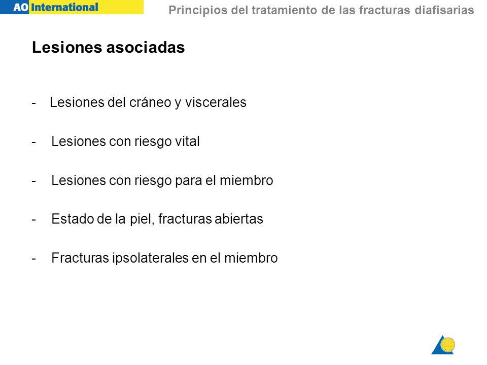 Principios del tratamiento de las fracturas diafisarias Lesiones asociadas -Lesiones del cráneo y viscerales - Lesiones con riesgo vital - Lesiones co