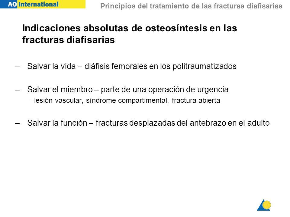 Principios del tratamiento de las fracturas diafisarias Indicaciones absolutas de osteosíntesis en las fracturas diafisarias –Salvar la vida – diáfisi