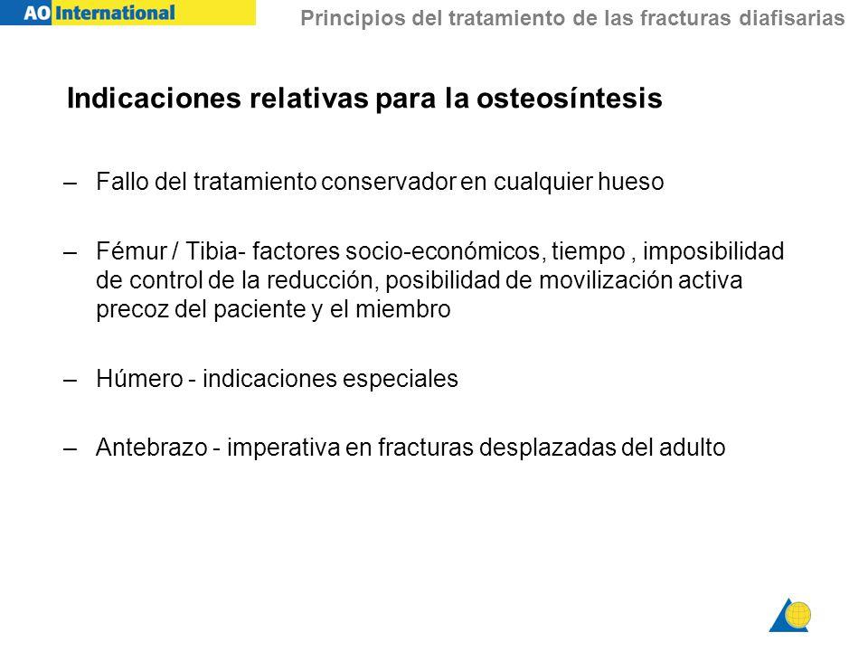 Principios del tratamiento de las fracturas diafisarias Indicaciones relativas para la osteosíntesis –Fallo del tratamiento conservador en cualquier h