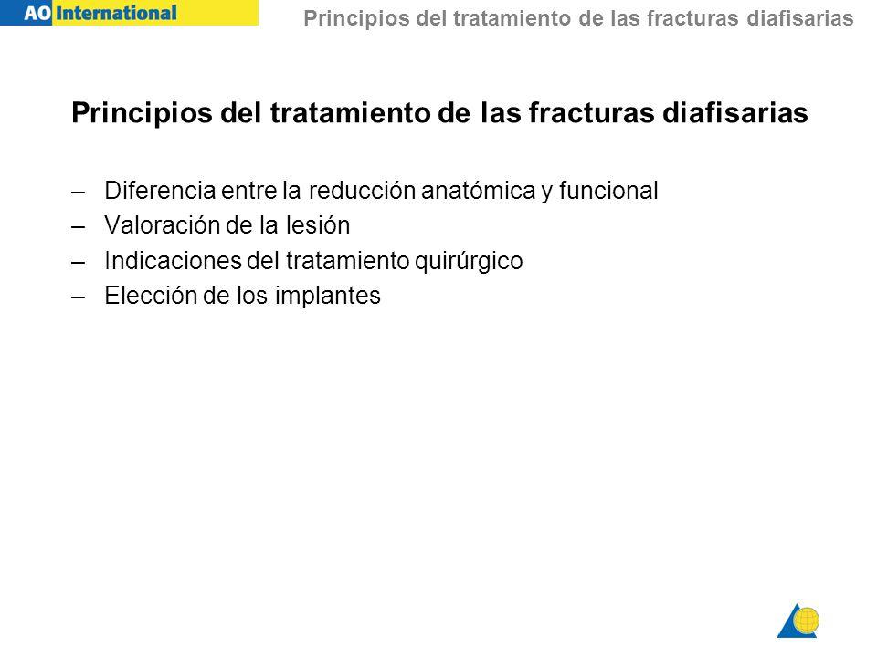 Principios del tratamiento de las fracturas diafisarias –Diferencia entre la reducción anatómica y funcional –Valoración de la lesión –Indicaciones de