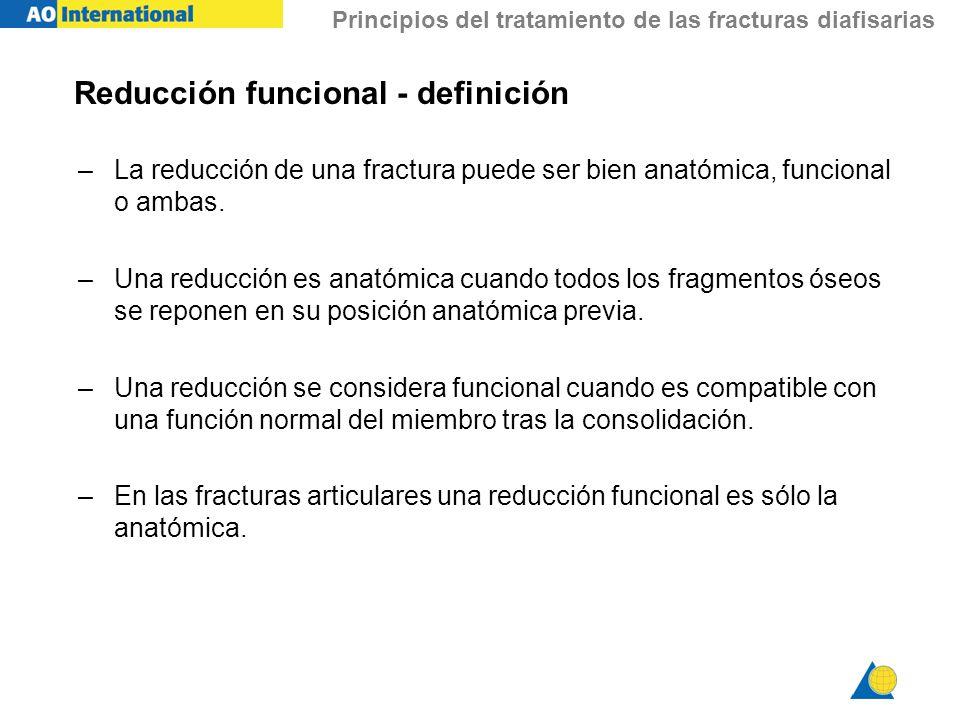 Principios del tratamiento de las fracturas diafisarias Reducción funcional - definición –La reducción de una fractura puede ser bien anatómica, funci