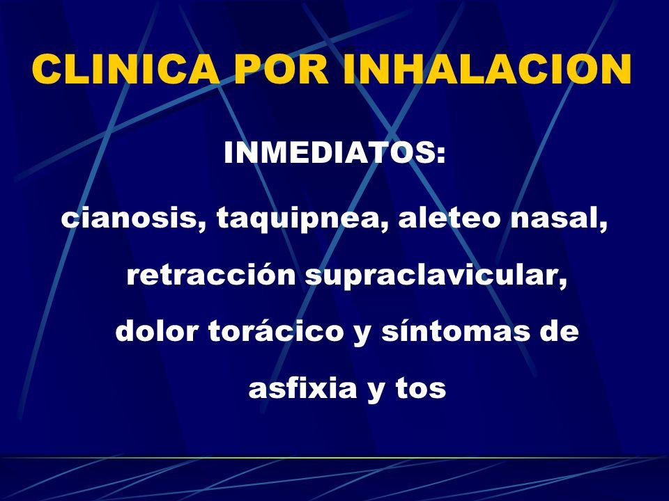 CLINICA POR INHALACION INMEDIATOS: cianosis, taquipnea, aleteo nasal, retracción supraclavicular, dolor torácico y síntomas de asfixia y tos