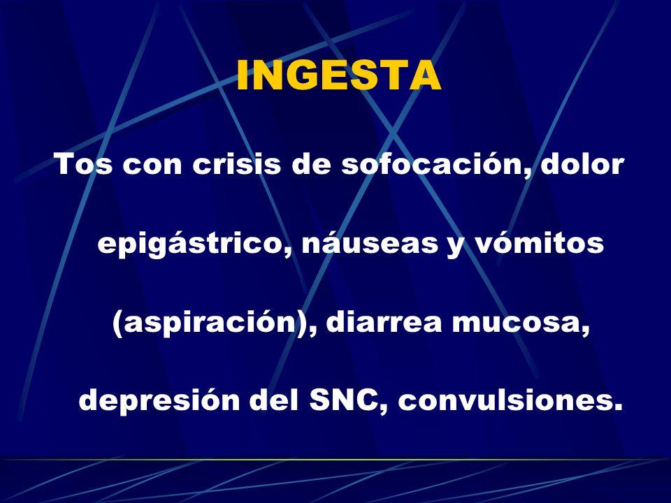 INGESTA Tos con crisis de sofocación, dolor epigástrico, náuseas y vómitos (aspiración), diarrea mucosa, depresión del SNC, convulsiones.