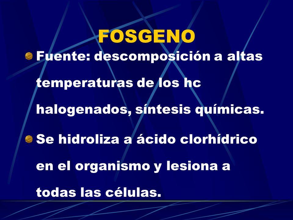 FOSGENO Fuente: descomposición a altas temperaturas de los hc halogenados, síntesis químicas. Se hidroliza a ácido clorhídrico en el organismo y lesio