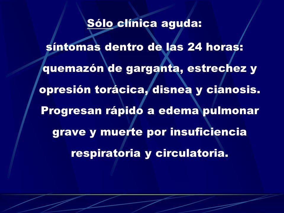 Sólo clínica aguda: síntomas dentro de las 24 horas: quemazón de garganta, estrechez y opresión torácica, disnea y cianosis. Progresan rápido a edema