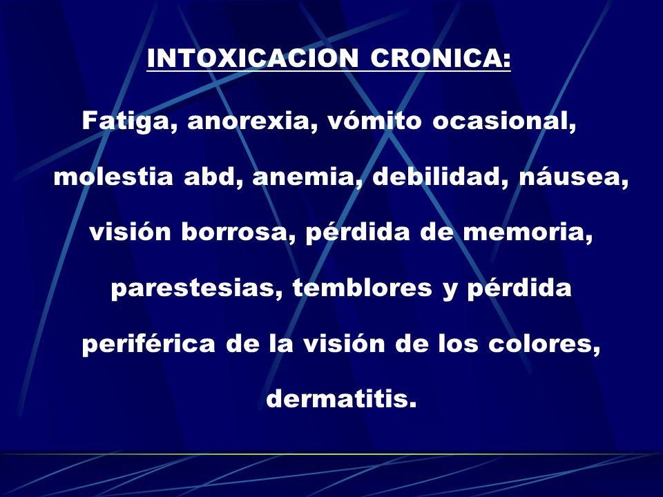 INTOXICACION CRONICA: Fatiga, anorexia, vómito ocasional, molestia abd, anemia, debilidad, náusea, visión borrosa, pérdida de memoria, parestesias, te