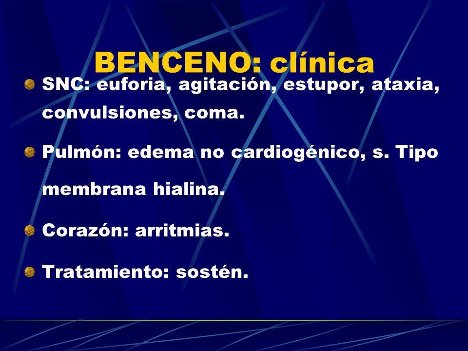 BENCENO: clínica SNC: euforia, agitación, estupor, ataxia, convulsiones, coma. Pulmón: edema no cardiogénico, s. Tipo membrana hialina. Corazón: arrit